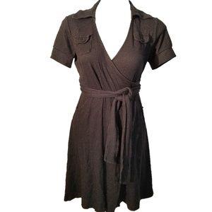 Banana Republic Pinstripe Dots Wrap Dress - Small